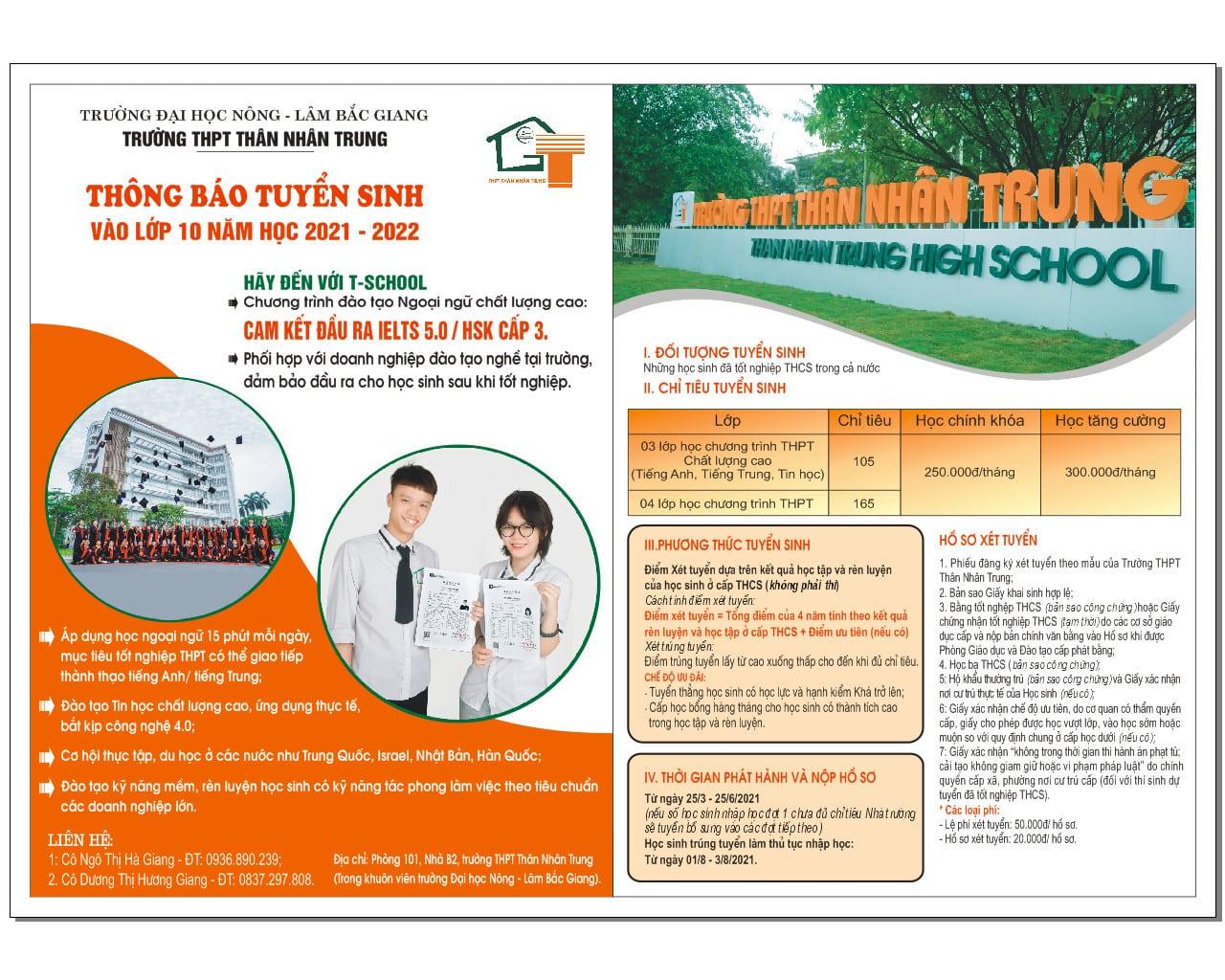 Trường THPT Thân Nhân Trung thông báo tuyển sinh vào lớp 10 năm học 2021 – 2022